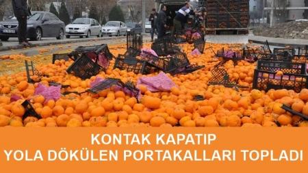 Kontak Kapatıp Yola Dökülen Portakalları Topladı