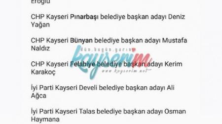 CHP ve İYİ Parti Belediye Başkan Adayları Listesi
