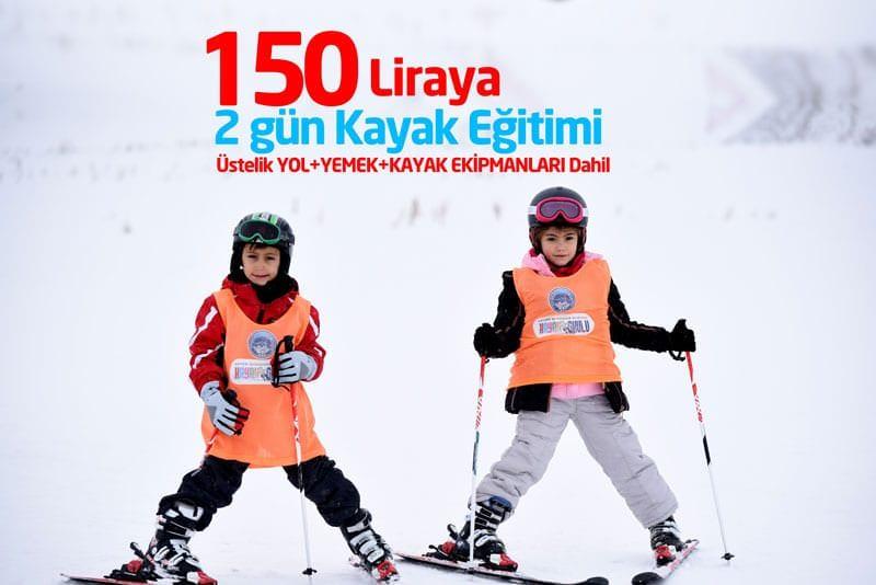 150 Liraya 2 Günde Kayak Eğitimi
